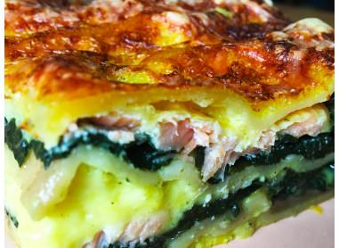 Lasagne au saumon fumé, épinards &...